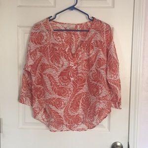 Loft silk blend peasant top
